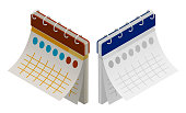 istock isometric paper wall calendar. Marking days of the week, months on calendar. Realistic 3D vector 1324853675
