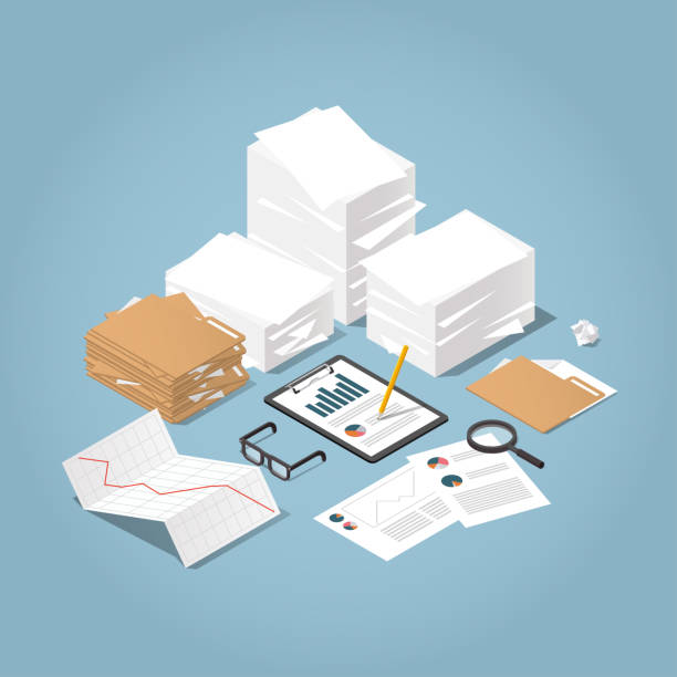 Isometric Paper Work illustration Vector isometric illustration of working with documents. Big stacks of paper and folders with glasses, documents, charts, magnifier.  Analysing and researching creative process concept. document stock illustrations