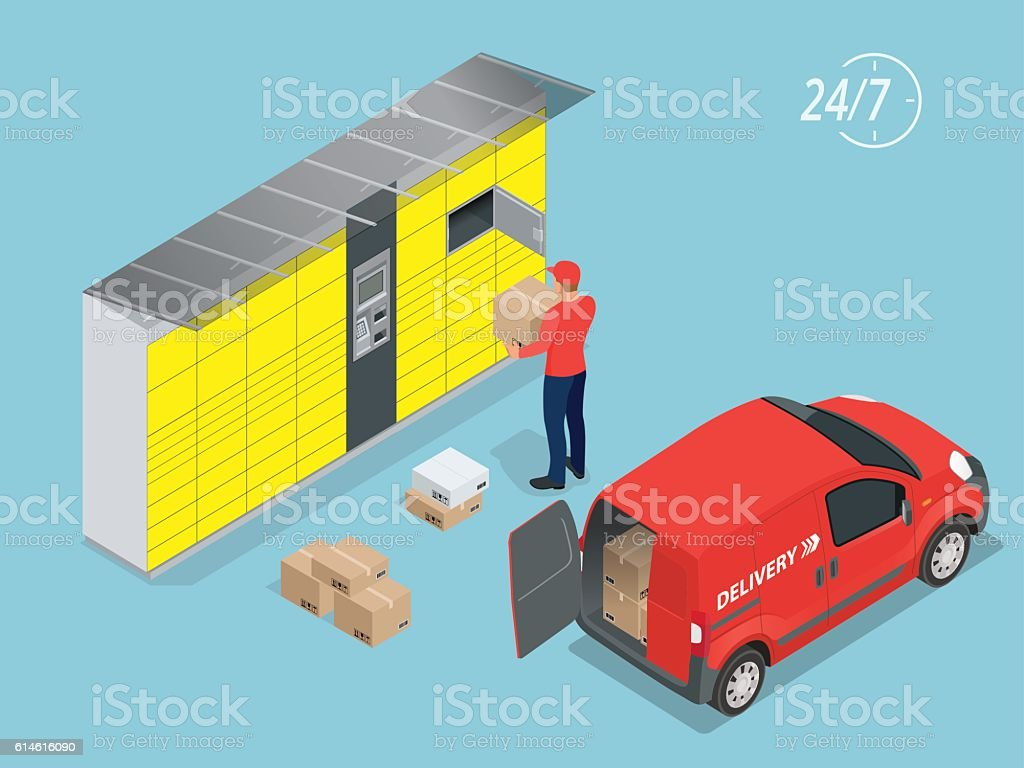 Isometric Parcel Delivery Lockers vector art illustration