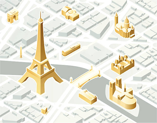 Isometric Paris Aerial illustration of Paris, France in isometric view. Landmarks are highlighted in gold and included on a separate layer. seine river stock illustrations