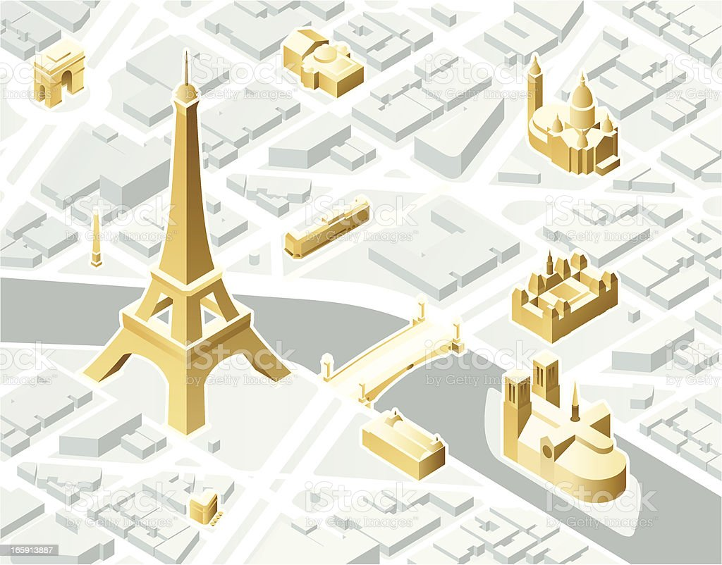 Isometric Paris vector art illustration