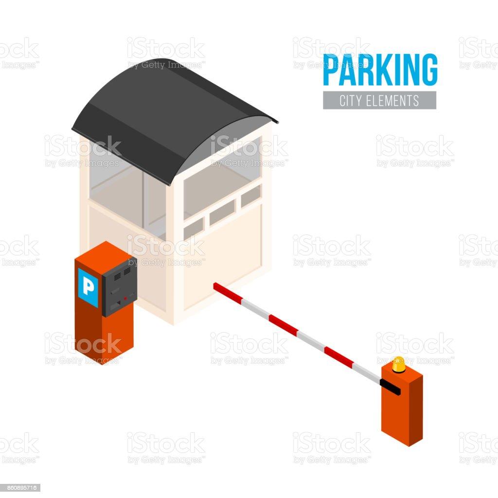 Ilustración de Entrada Estacionamiento Isométrica Elementos De La ...