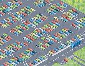 Isometric, Parking Lot Set made in adobe Illustrator (vector)