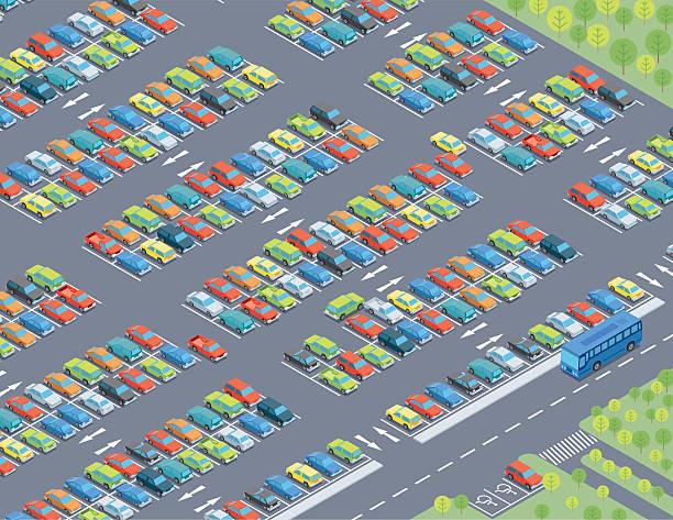 stockillustraties, clipart, cartoons en iconen met isometric, parking lot - parking
