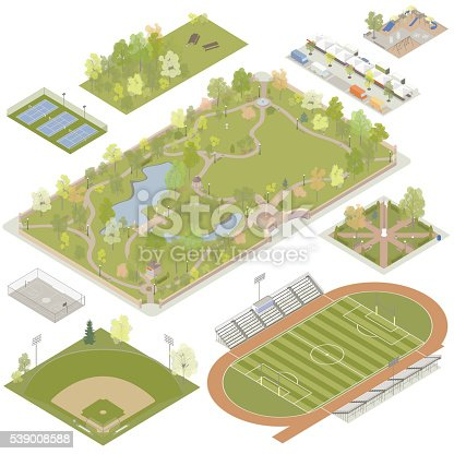 Illustrations of detailed parks, plazas and playgrounds include tennis courts, a wooded picnic area, a plaza with a farmer's market and food trucks, a playground, a basketball court, a baseball field, a town square, a large city park, and a football field with running track and bleachers. Vector illustrations are prepared in isometric view.