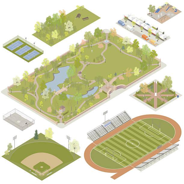 アイソメトリック公園イラストレーション - 校庭点のイラスト素材/クリップアート素材/マンガ素材/アイコン素材