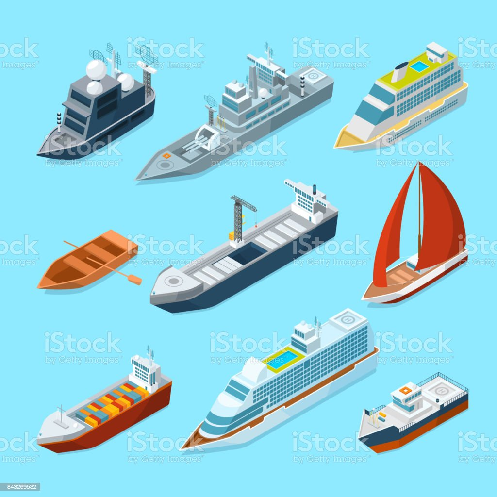 Barcos de mar de pasajeros isométrica y diferentes embarcaciones en Puerto. Ilustraciones de Marina - ilustración de arte vectorial