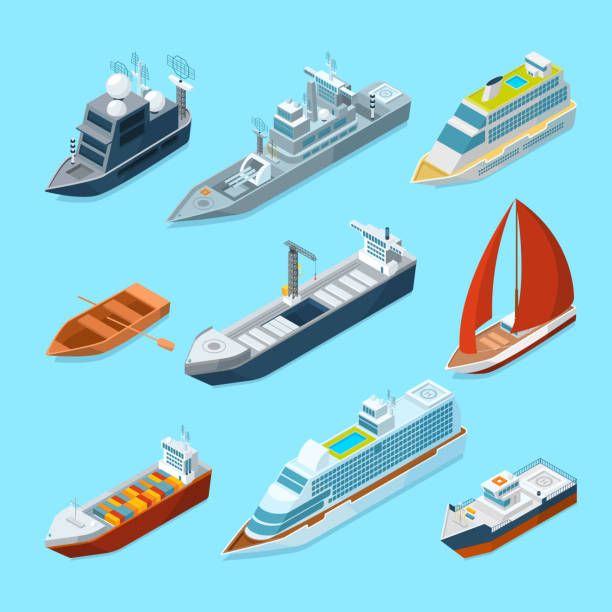 isometric passenger sea ships and different boats in port. marine illustrations - statek stock illustrations