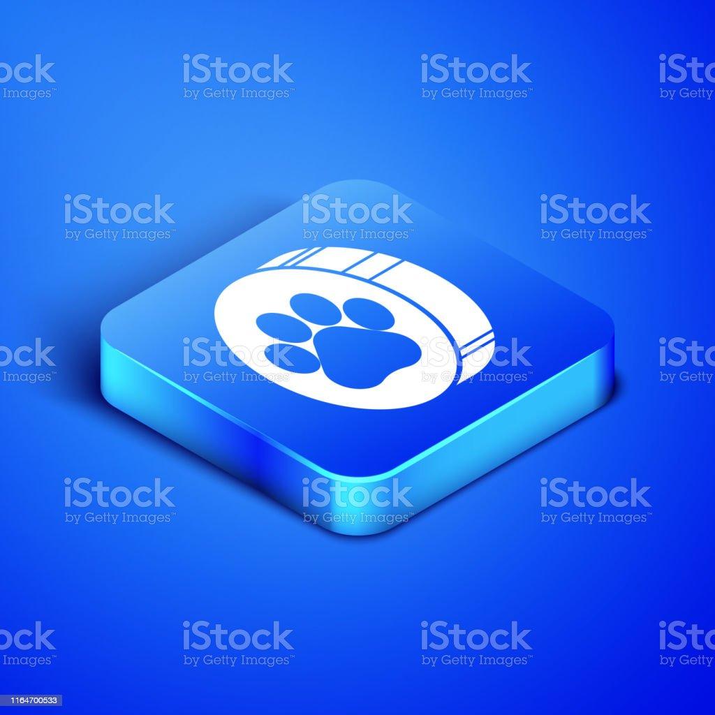 Isometric Paw print icon isolated on blue background. Dog or cat paw...