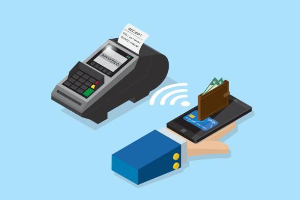 pos terminal, NFC teknoloji ve iş anlayışı ile smartphone ile izometrik ödeme vektör sanat illüstrasyonu