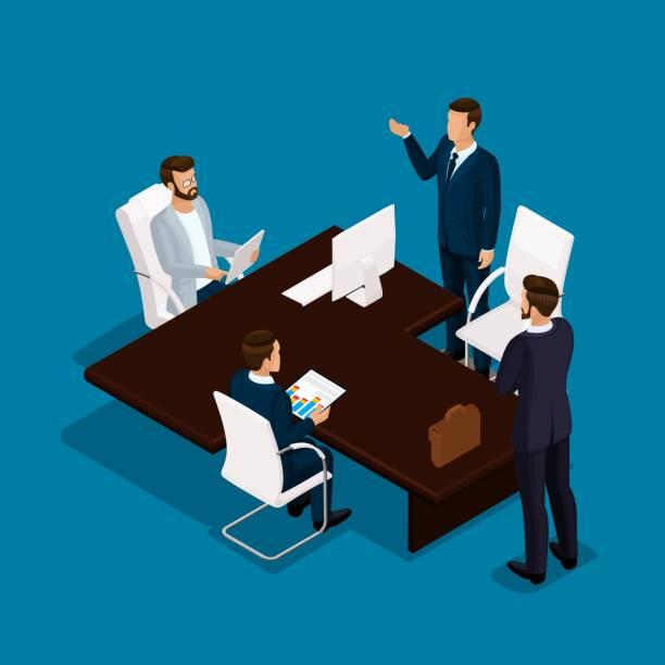 Isometric people 3D businessman. Office employee discussion, problem-solving, in the director's office on a blue background vector art illustration