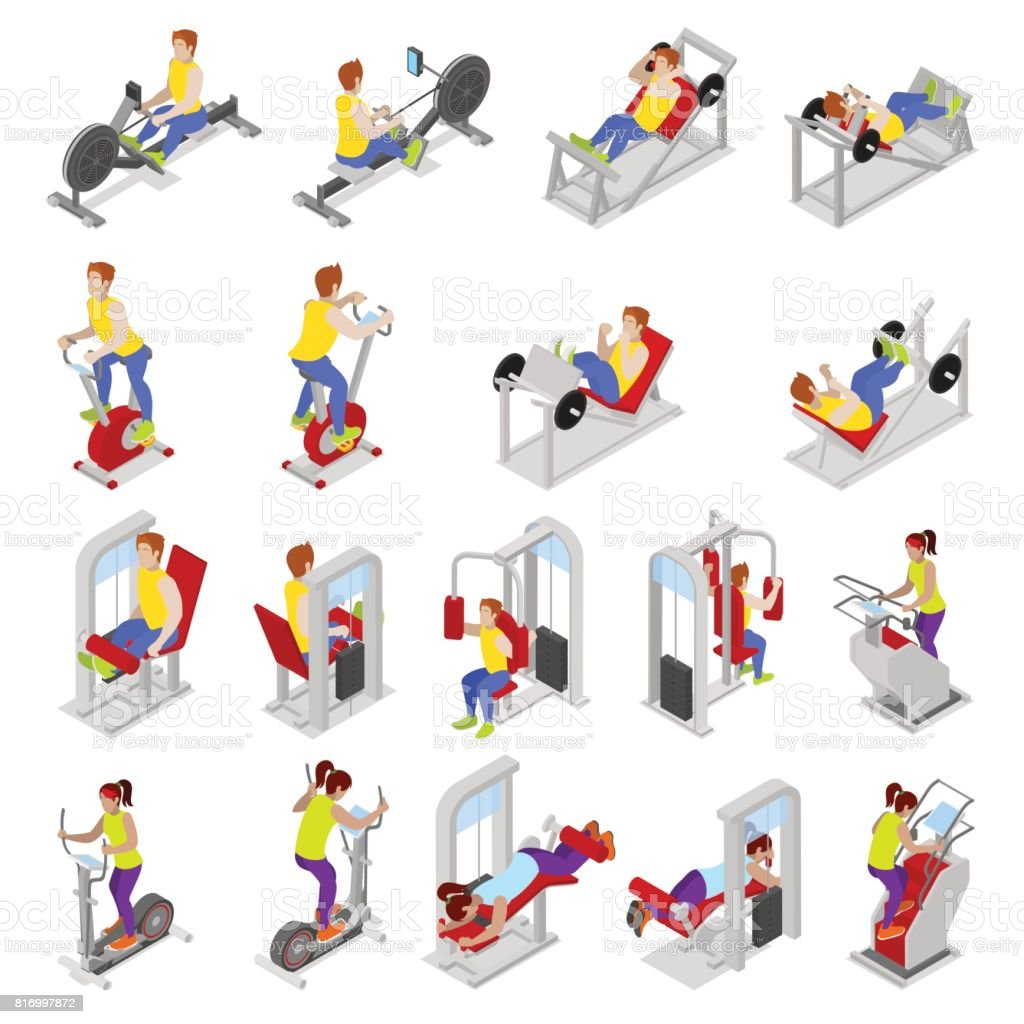 Isometric Exercises Equipment: Isometric People At The Gym Sportsmen Workout Sports