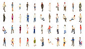 Isometric people illustrations include men, women, and children dressed for work and recreation. People walk, stand, sit, and perform a variety of activities. Use for architectural renderings, infographics, and illustrations. EPS vector and JPEG included. Flat vectors provided in a bold warm color palette.
