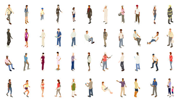 Isometric people bold color Isometric people illustrations include men, women, and children dressed for work and recreation. People walk, stand, sit, and perform a variety of activities. Use for architectural renderings, infographics, and illustrations. EPS vector and JPEG included. Flat vectors provided in a bold warm color palette. asian woman stock illustrations