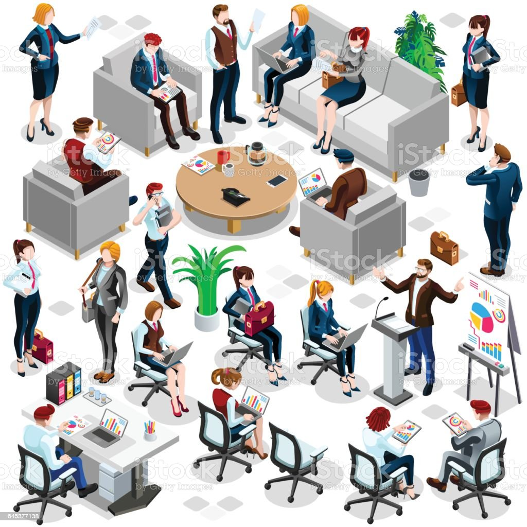 Isometric People Business Crowd Icon 3D Set Vector Illustration vector art illustration