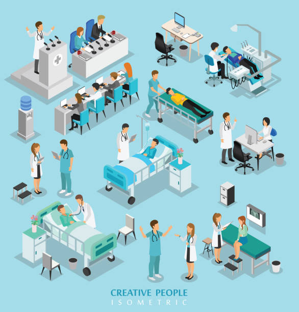 isometric people character on hospital include doctor, nurse, man and woman isometric people character on hospital include doctor, nurse, man and woman hospital bed stock illustrations
