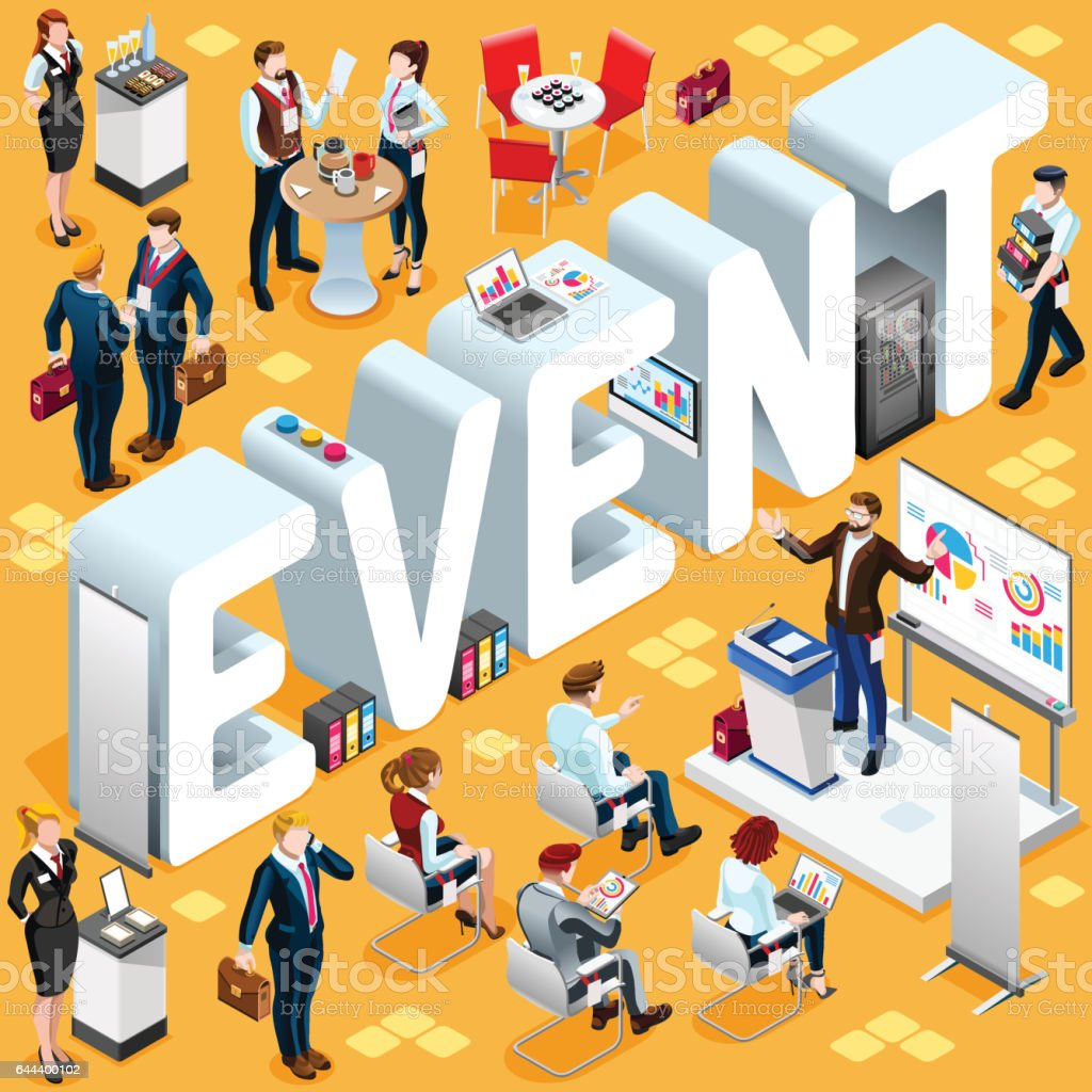 D Models Collection Exhibition Amp Event : Isometric people event icon d set vector illustration