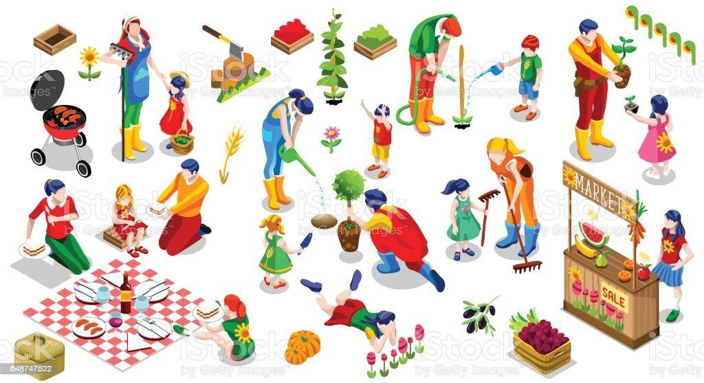 Ilustração em vetor conjunto isométrica pessoas família planta árvore ícone - ilustração de arte em vetor