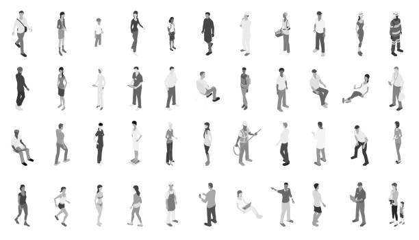 isometric people grayscale - mathisworks people icons stock illustrations, clip art, cartoons, & icons