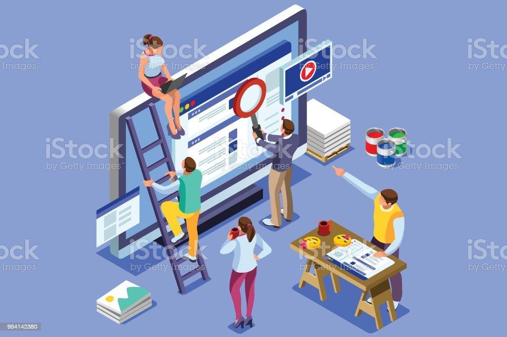 Isometric people images seo illustrations
