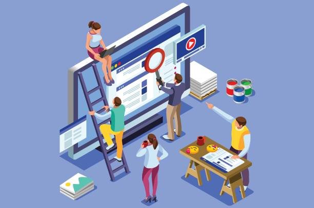Isometric people images seo illustrations Isometric people images to create seo illustrations. Can use for web banner, infographics, hero images. Flat isometric vector illustration isolated on blue background. seo stock illustrations