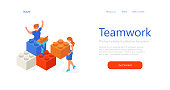 Isometric people in office build something with blocks. Teamwork cooperation in the quarantine.Lego puzzles. People with medical masks. Web page template