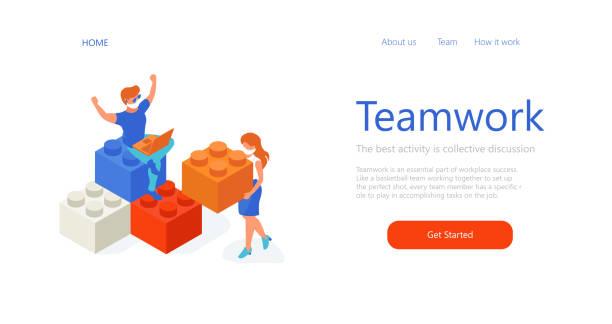 stockillustraties, clipart, cartoons en iconen met isometrische mensen in kantoor bouwen iets met blokken. teamwork samenwerking in de quarantaine. lego puzzels. mensen met medische maskers. webpaginasjabloon - lego