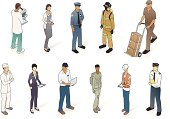 A workforce of men and women include scientist, waitress, police officer, firefighter, delivery person, cook, doctor, mechanic, soldier, construction worker, and airline pilot.