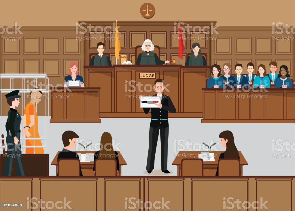 Isometric people judicial system set . vector art illustration