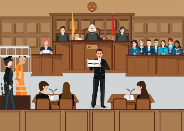 Isometric people judicial system set . Isometric people judicial system set with judge, defendant, attorney, jury and witnesses vector illustration. supreme court stock illustrations