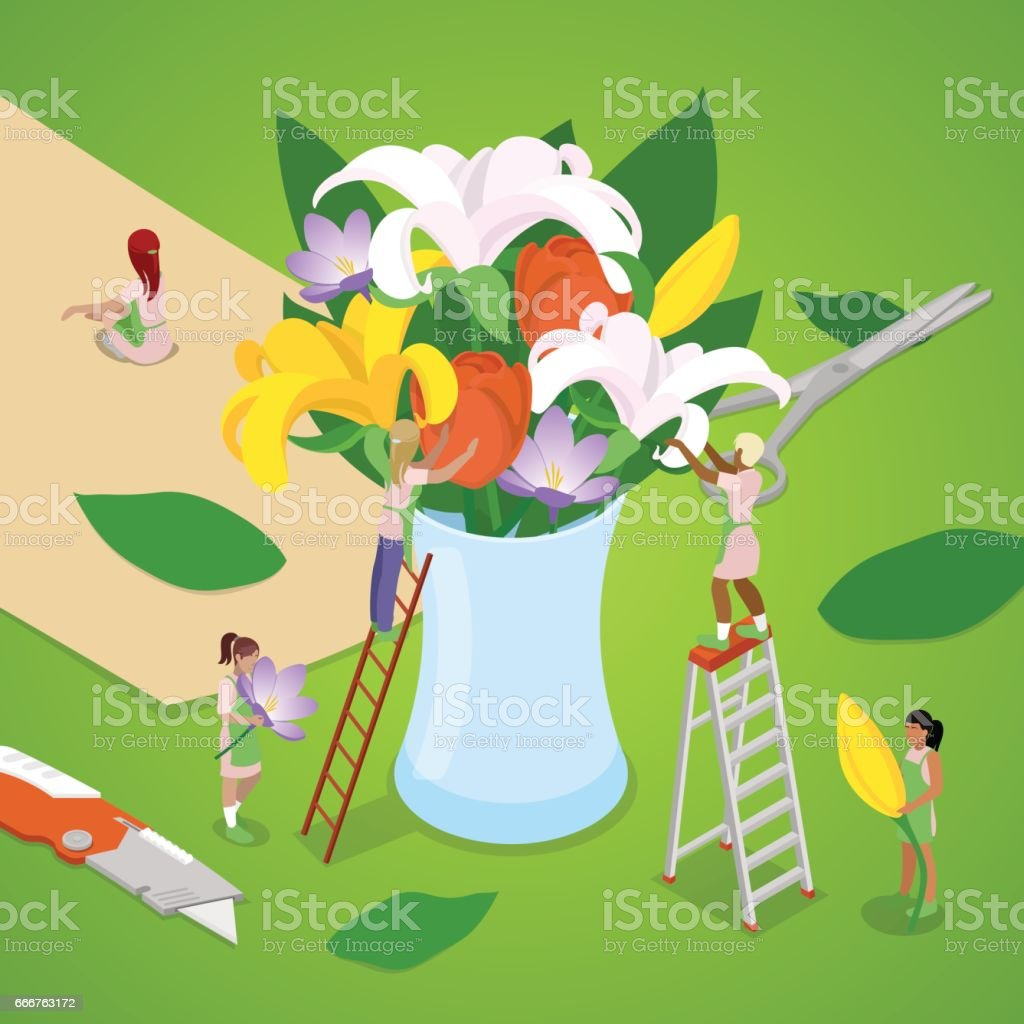 Isometric People Making Bouquet of Flowers isometric people making bouquet of flowers - immagini vettoriali stock e altre immagini di adulto royalty-free