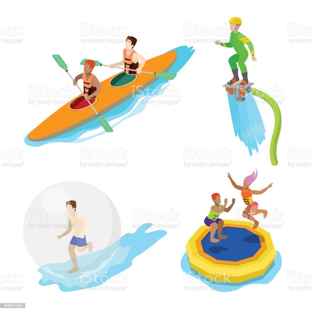 isometric people on water activity kayaking stock vector art more rh istockphoto com Water Day Clip Art water games clipart free