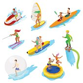 Isometric People on Water Activity. Woman Surfer