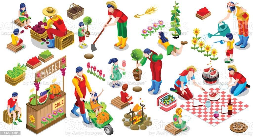 Isometric People Plant Tree Family Icon Set Vector Illustration vector art illustration