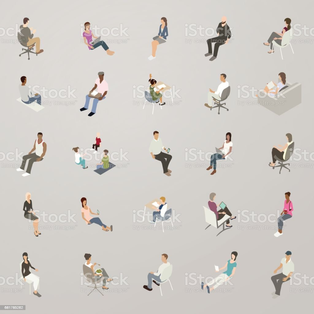 Isometric People Sitting royalty-free isometric people sitting stock illustration - download image now