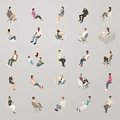 Isometric vector icons include 27 people sitting. A diverse set of men, women, and children are dressed casually, for business, and for school.