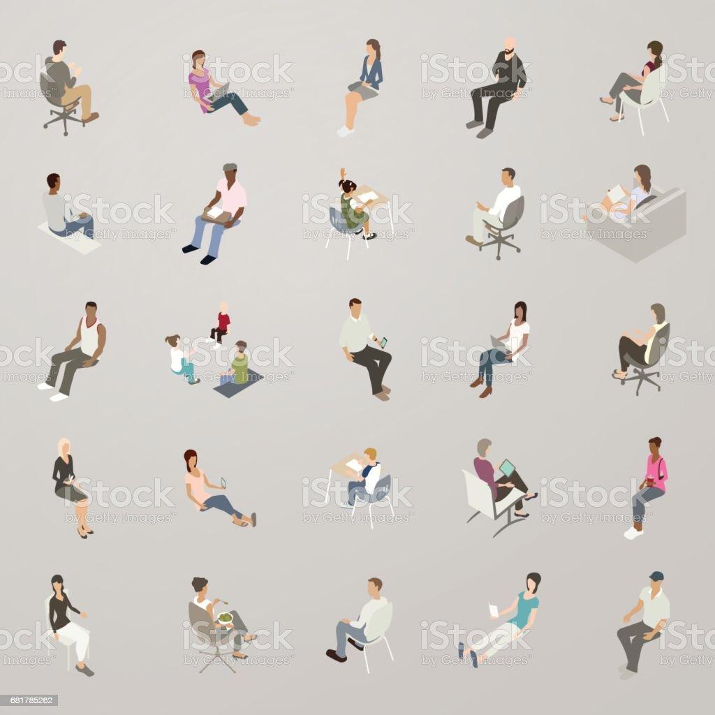 Isometric People Sitting vector art illustration