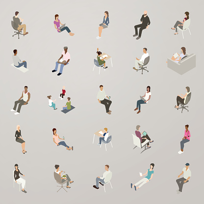 Isometric People Sitting Stock Illustration - Download Image Now