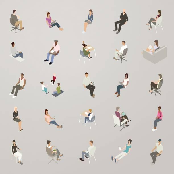 bildbanksillustrationer, clip art samt tecknat material och ikoner med isometrisk personer sittande - sitta