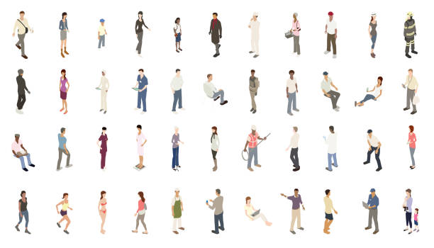 Isometric people subtle color vector art illustration