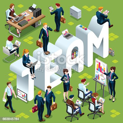 Team Group of Diverse Isometric Business People. 3D meeting infograph crowd with standing walking casual people icon set. Conference handshake hand shake lot collection vector illustration