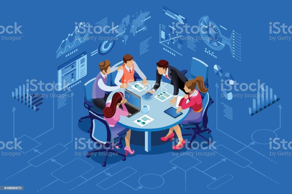 Isometric people team management concept vector art illustration