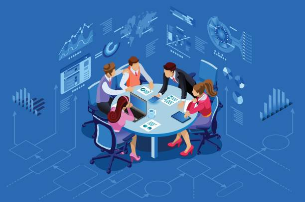 Isometric people team management concept Isometric people team contemporary management concept. Can use for web banner, infographics, hero images. Flat isometric vector illustration isolated on blue background. meeting stock illustrations