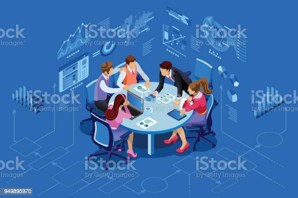 Isometric People Team Management Concept Stock Illustration - Download Image Now