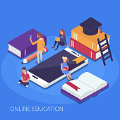 Online education concept. Flat isometric illustration.