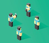 Isometric people vector illustration, 3d person