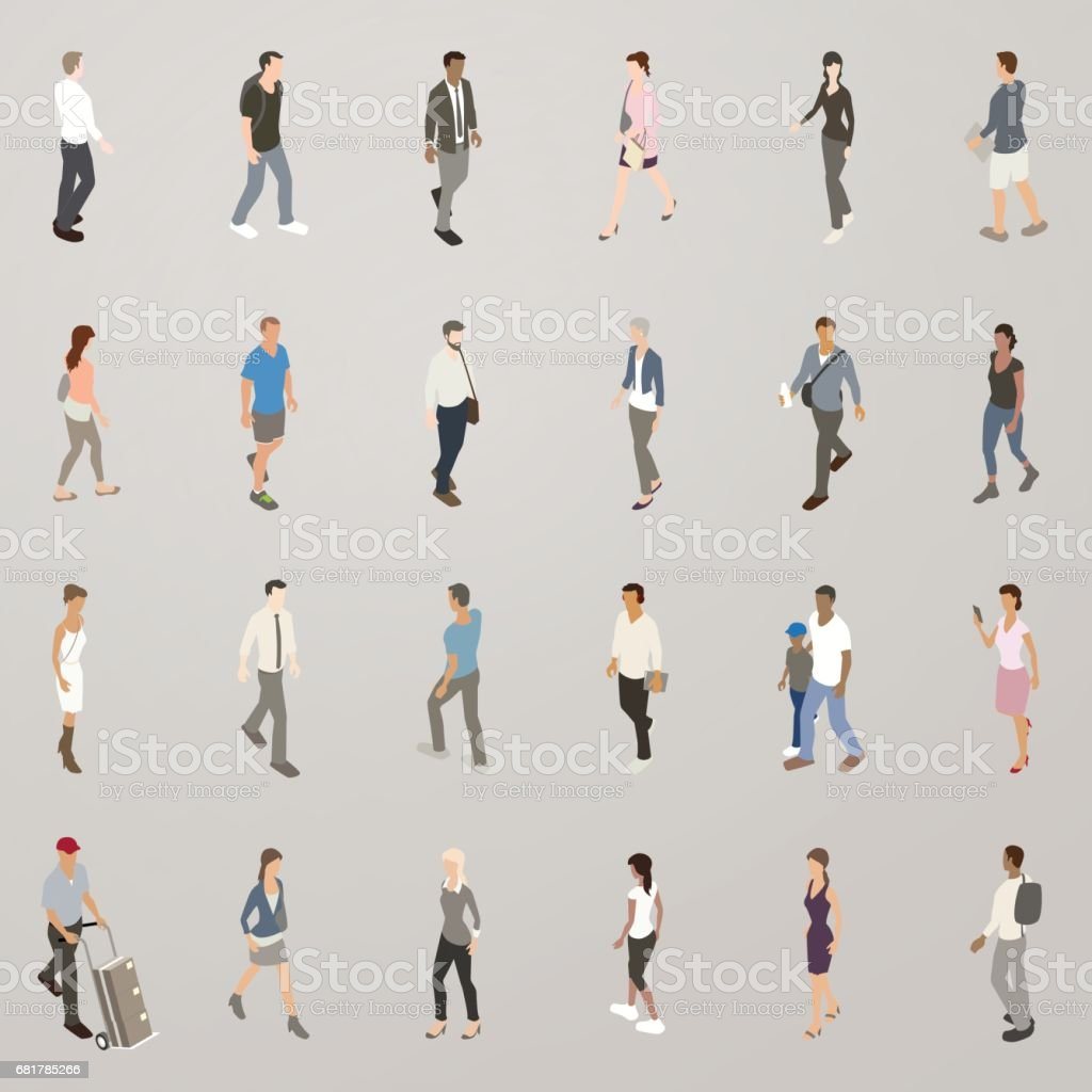 Isometric People Walking Isometric vector icons include 25 people walking. A diverse set of men and women are dressed casually and for business. Adult stock vector