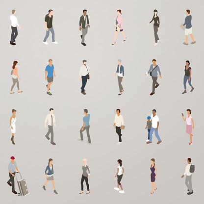 Isometric People Walking Stock Illustration - Download Image Now