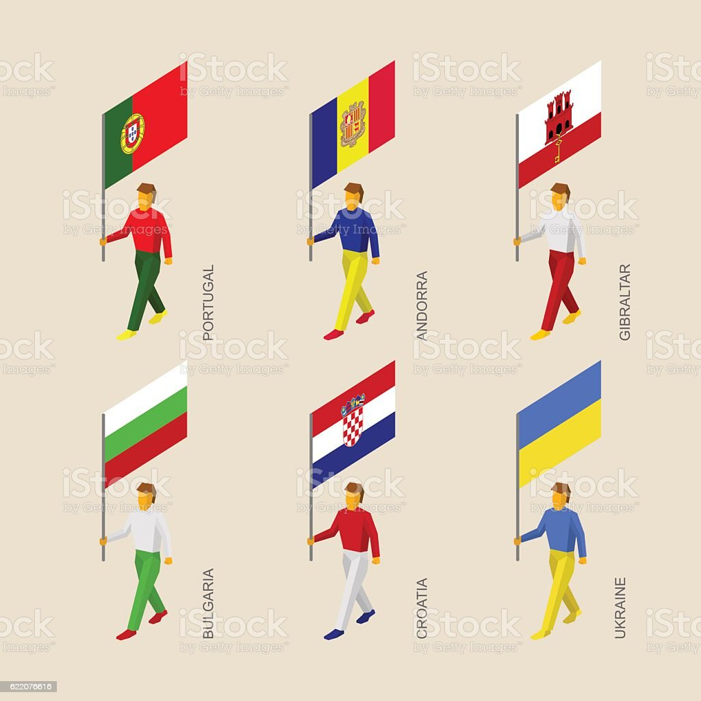 Isometric people with flags: Portugal, Andorra, Ukraine, Gibralt vector art illustration
