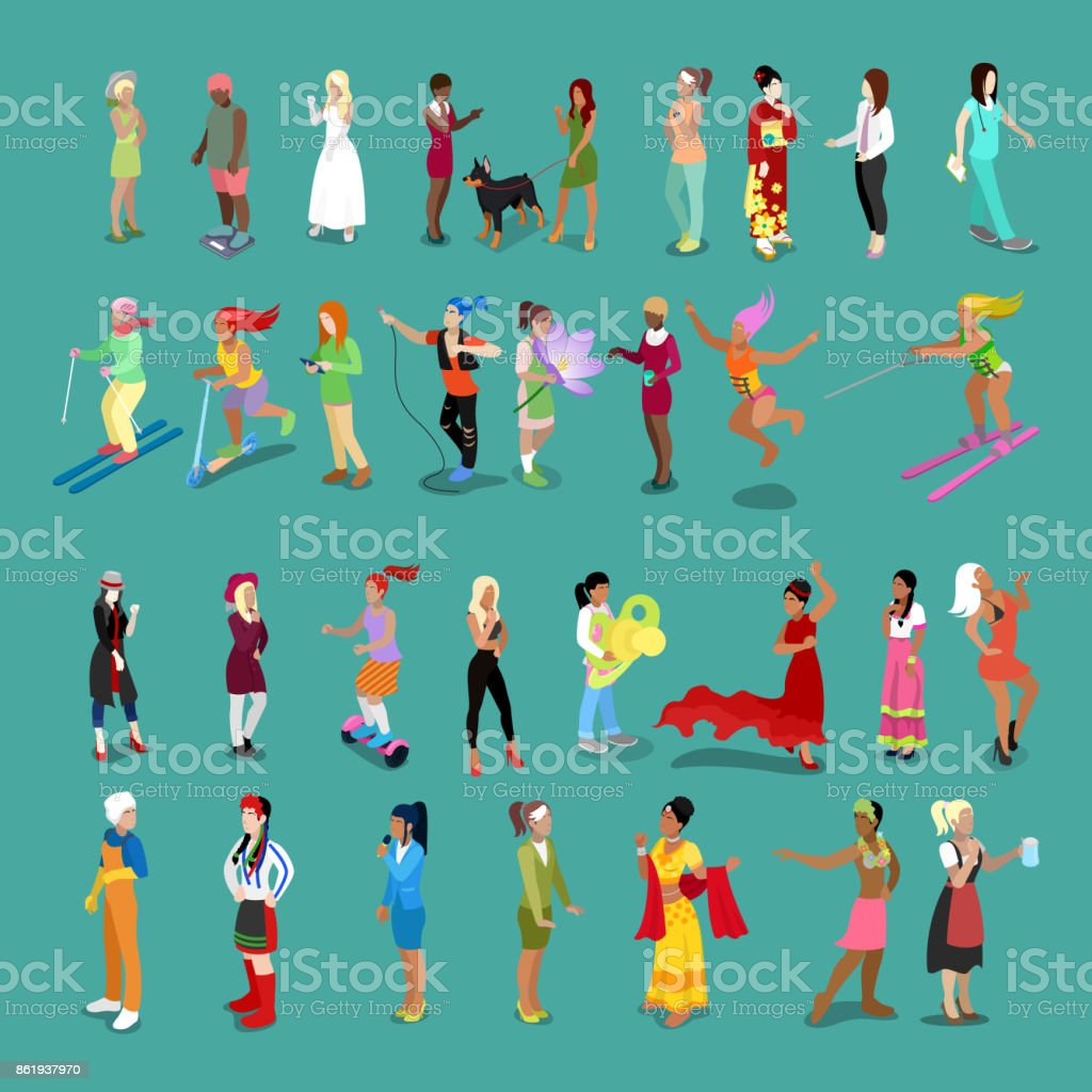 Isometric People Women Set. Female Characters in different Poses and Professions vector art illustration